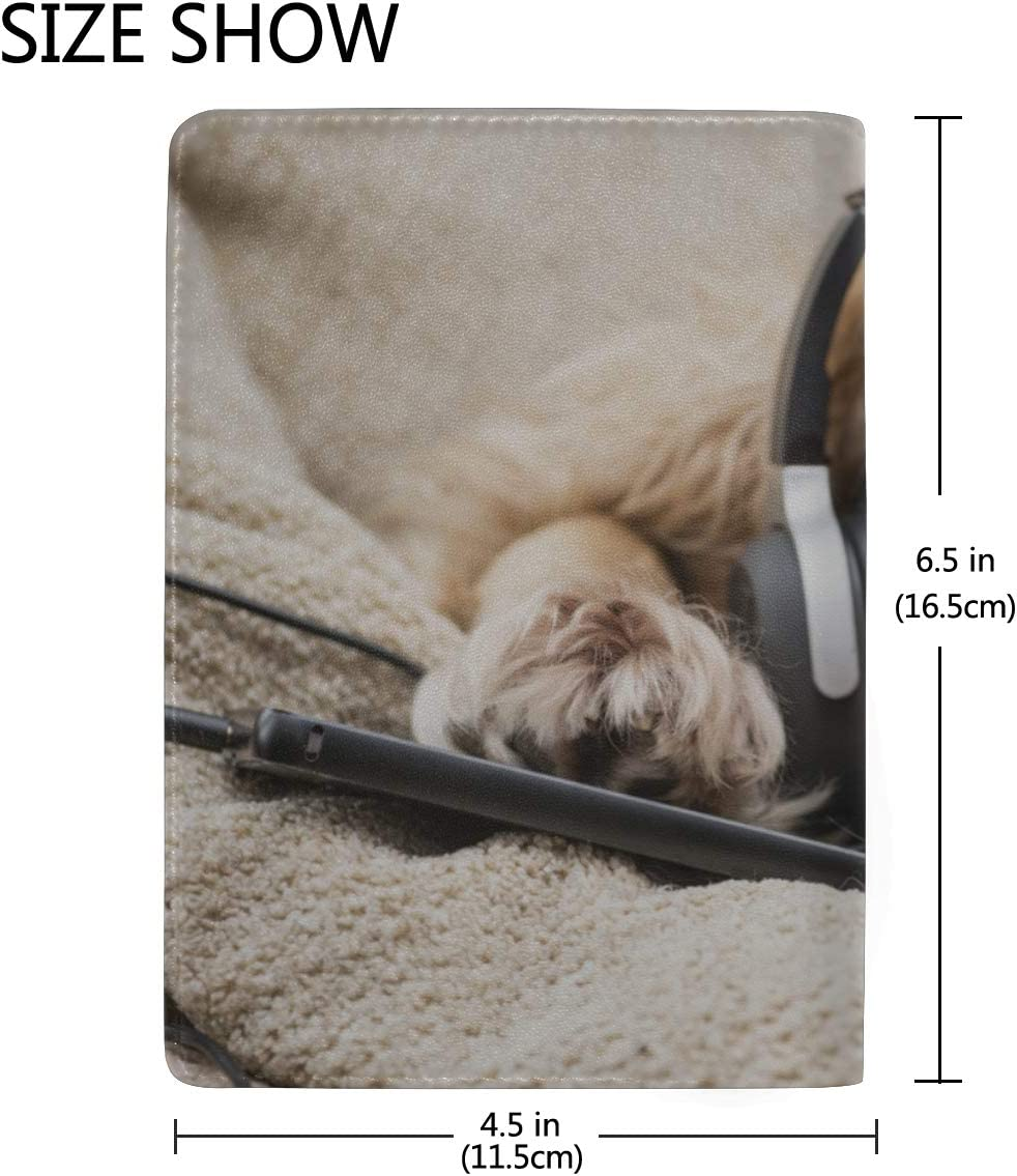 Happy Animal Dog Enjoy Music Blocking Print Passport Holder Cover Case Travel Luggage Passport Wallet Card Holder Made With Leather For Men Women Kids Family