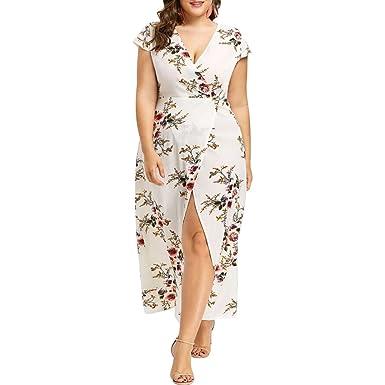 234cecdb9bc Femmes Longue Sexy en mousseline de soie Floral Imprimer Split élégant col  en V d