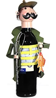Angler in Boot Flaschenhalter Metall Weinflaschenhalter Sekthalter Figur Deko