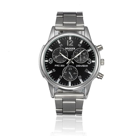 SKY Migeer reloj Moda hombres cristal de acero inoxidable analógico cuarzo pulsera reloj: Amazon.es: Relojes