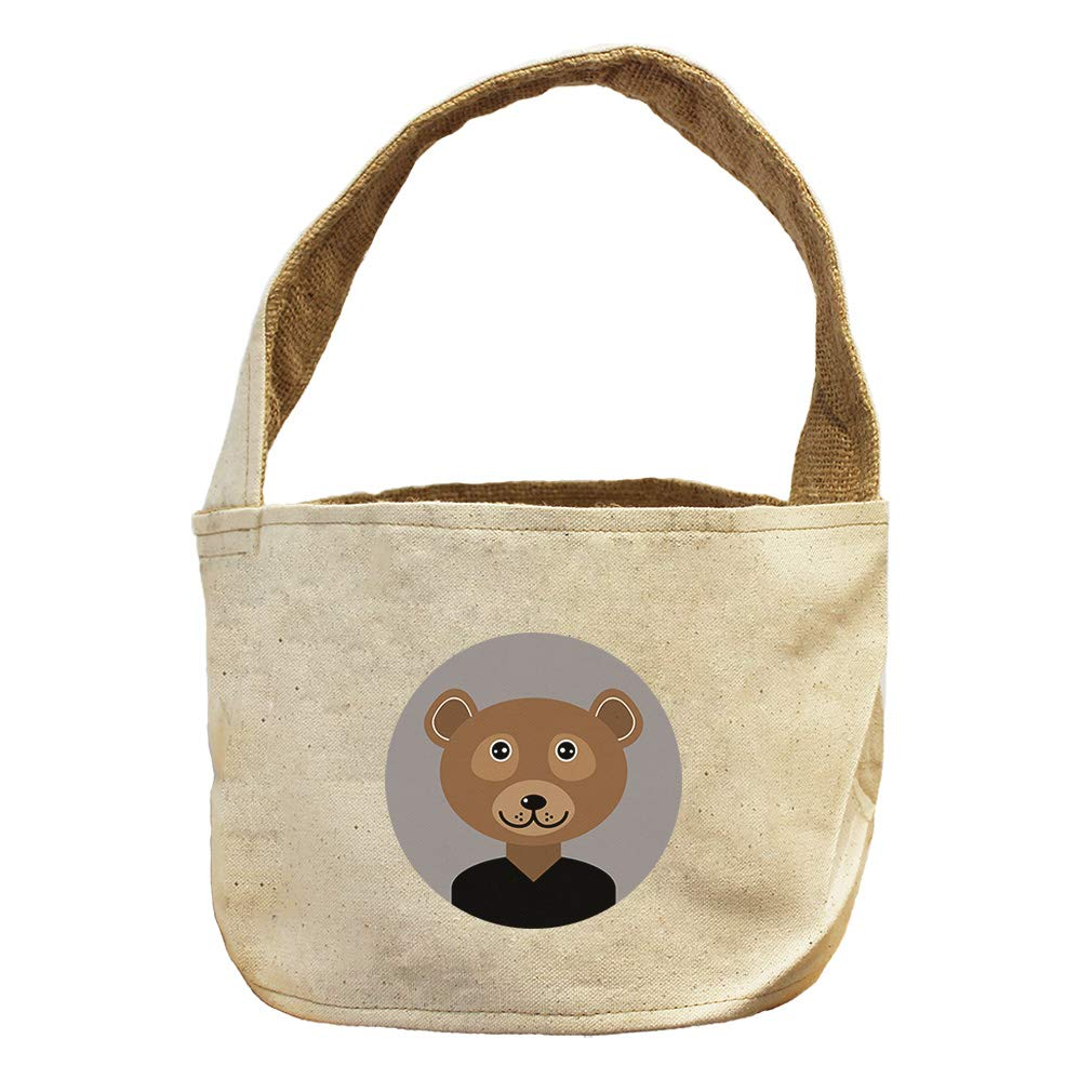 Head in Circle Bear Animals Canvas and Burlap Storage Basket