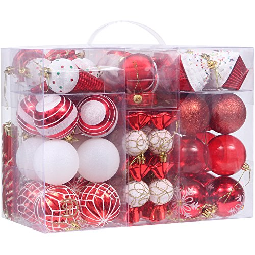 Christmas Hanging Ornament Set (Sea Team 81-Pack Assorted Shatterproof Christmas Ball Ornaments Set Decorative Baubles Pendants with Reusable Hand-held Gift Package for Xmas Tree (Red))