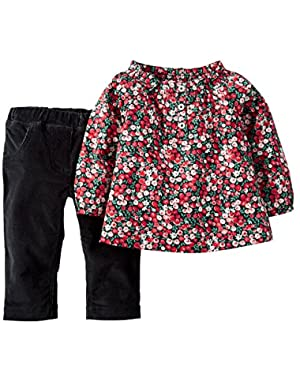 Baby Girls Floral-print Smock Red and Corduroy Pant Set 3M