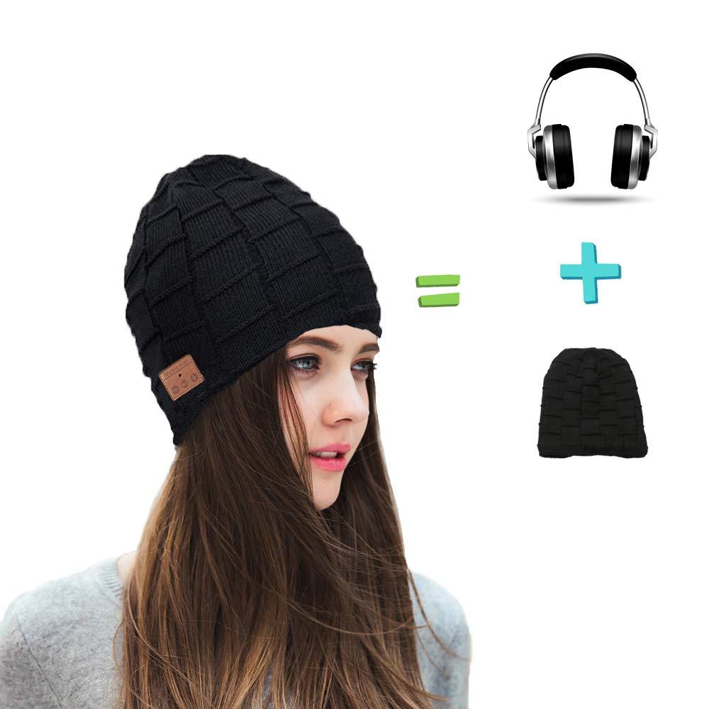 Wireless Bluetooth Beanie Headset Hat, Smart Beanie Headphones Winter Knit Hat Musical Knit Headphones Cap for Fitness Outdoor Sports, Unique Christmas Tech Gifts for Teen Young Boys Girls Men Women