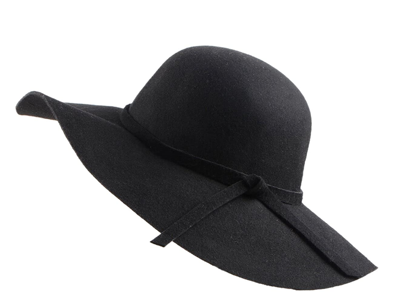 b62e34c16bbae4 Urban CoCo Women's Foldable Wide Brim Felt Bowler Fedora Floopy Wool Hat  (Black) at Amazon Women's Clothing store: