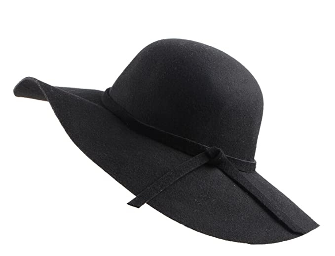 Urban CoCo Women s Foldable Wide Brim Felt Bowler Fedora Floopy Wool Hat  (Black) 191b27b14366