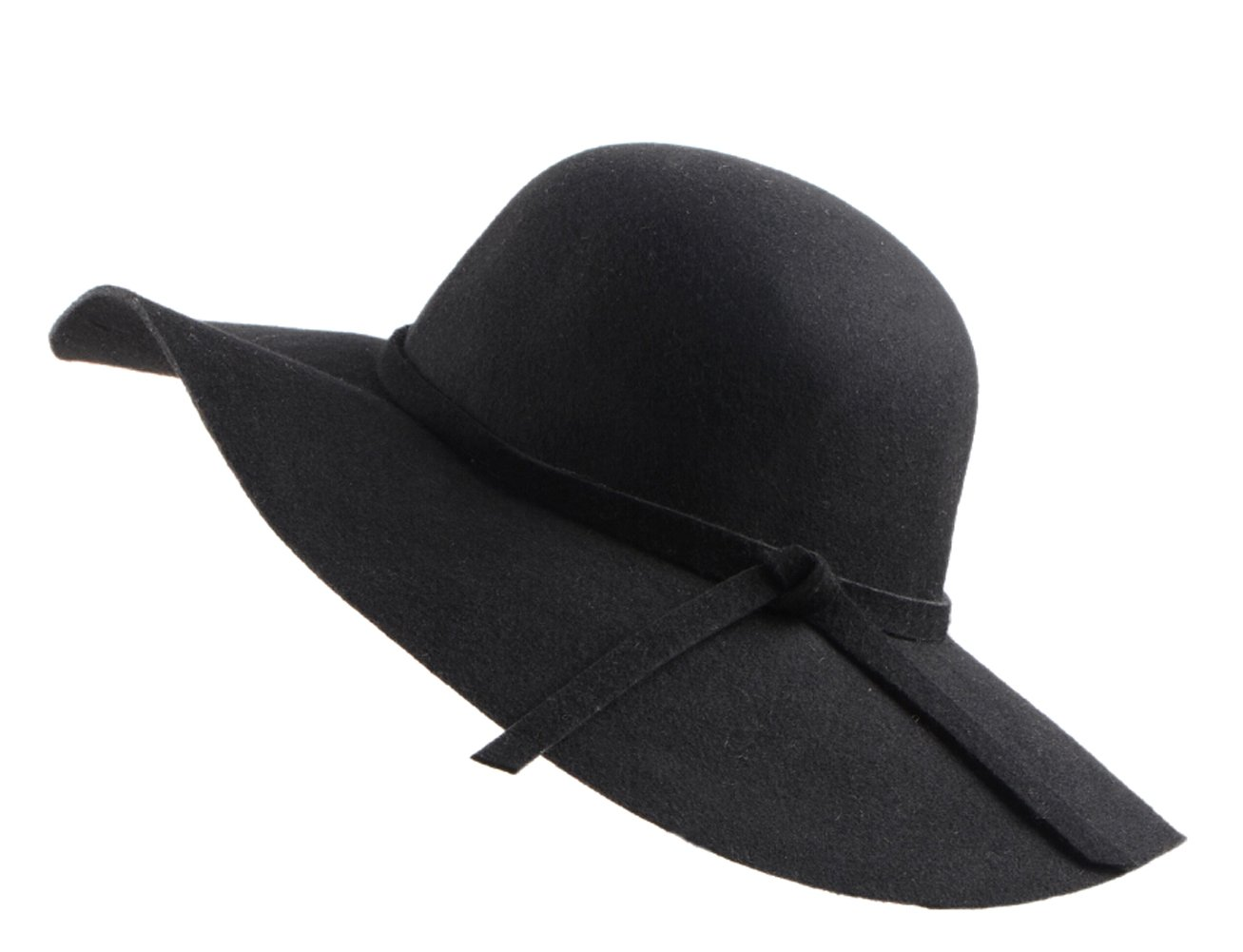 Urban CoCo Women's Foldable Wide Brim Felt Bowler Fedora Floopy Wool Hat (Black)