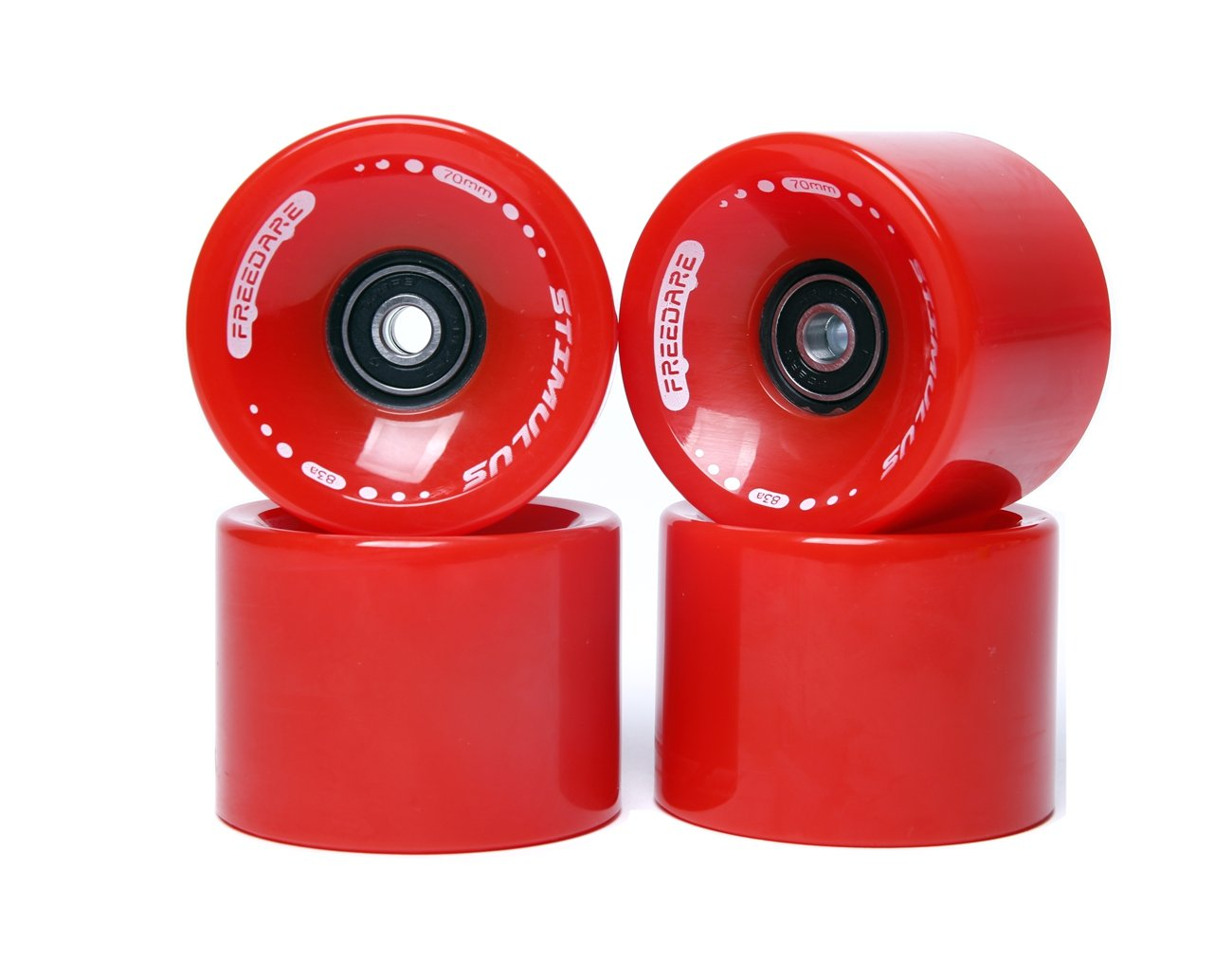 FREEDARE 70mm Longboard Wheels with ABEC-7 Bearings and Spacers(Red,Set of 4) by FREEDARE