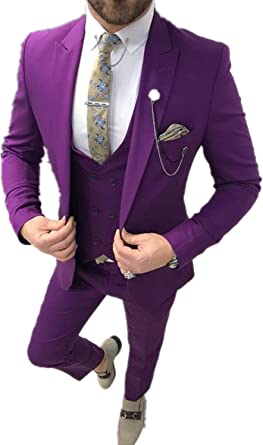 Leader Of The Beauty Mens Suit 3pcs Slim Fit Business Tuxedos Costumes Purple Peak Lapel Formal Wedding Groom Suits Amazon Co Uk Clothing