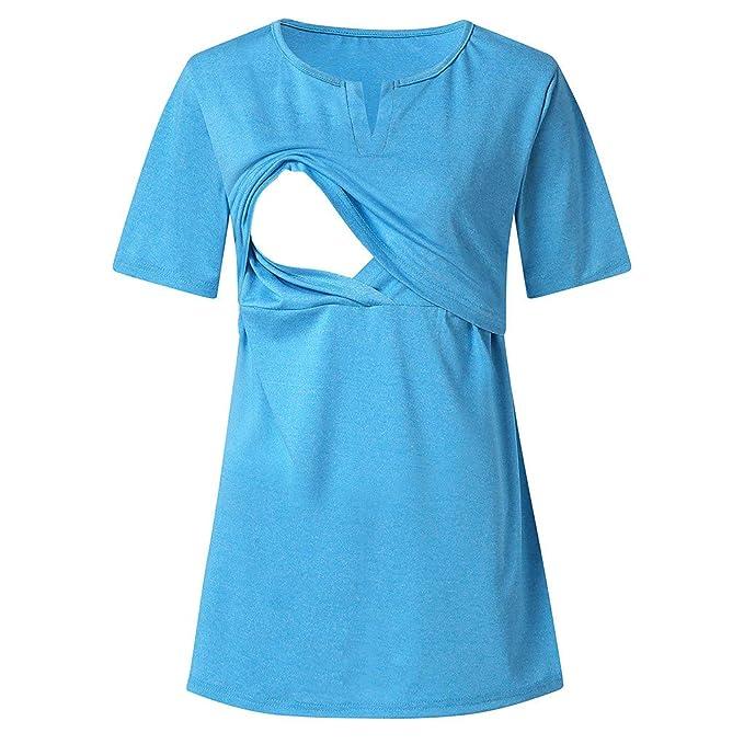 Mitlfuny Ropa premamá Tops Mujeres Embarazadas Maternidad Cuello V Camisa Botón Doble Capa Lactancia Camiseta Primavera Verano Enfermería Embarazada Manga ...