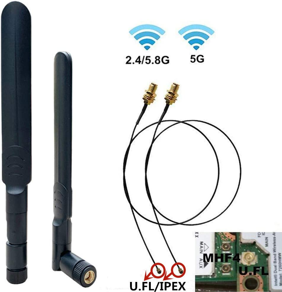 7dBi 2.4GHz 5.8G Dual Band WiFi RP-SMA High Gain Antenna U.FL IPEX to RP SMA Internet Bluetooth Range Extender Repeater Antennas for Wireless Card Routers Desktop PC ITX Build FPV UAV Drone PS4 Build