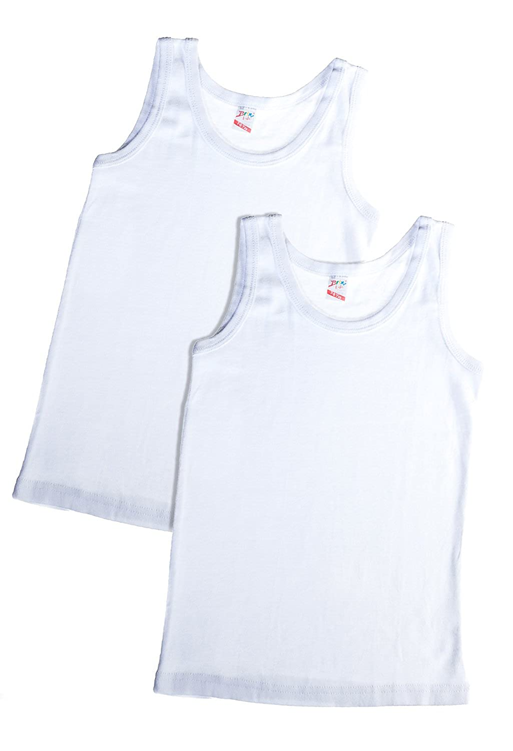 Brix Boys White Tank Tops 100% Cotton Super Soft Undershirts 2 pk tees.