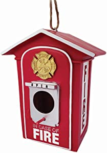 Spoontiques 10151 Fire Box Birdhouse, Red