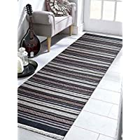 Rugsotic Carpets Hand Woven Kelim Woolen 3 x 13 Contemporary Runner Rug Charcoal White D00119 With Fringe