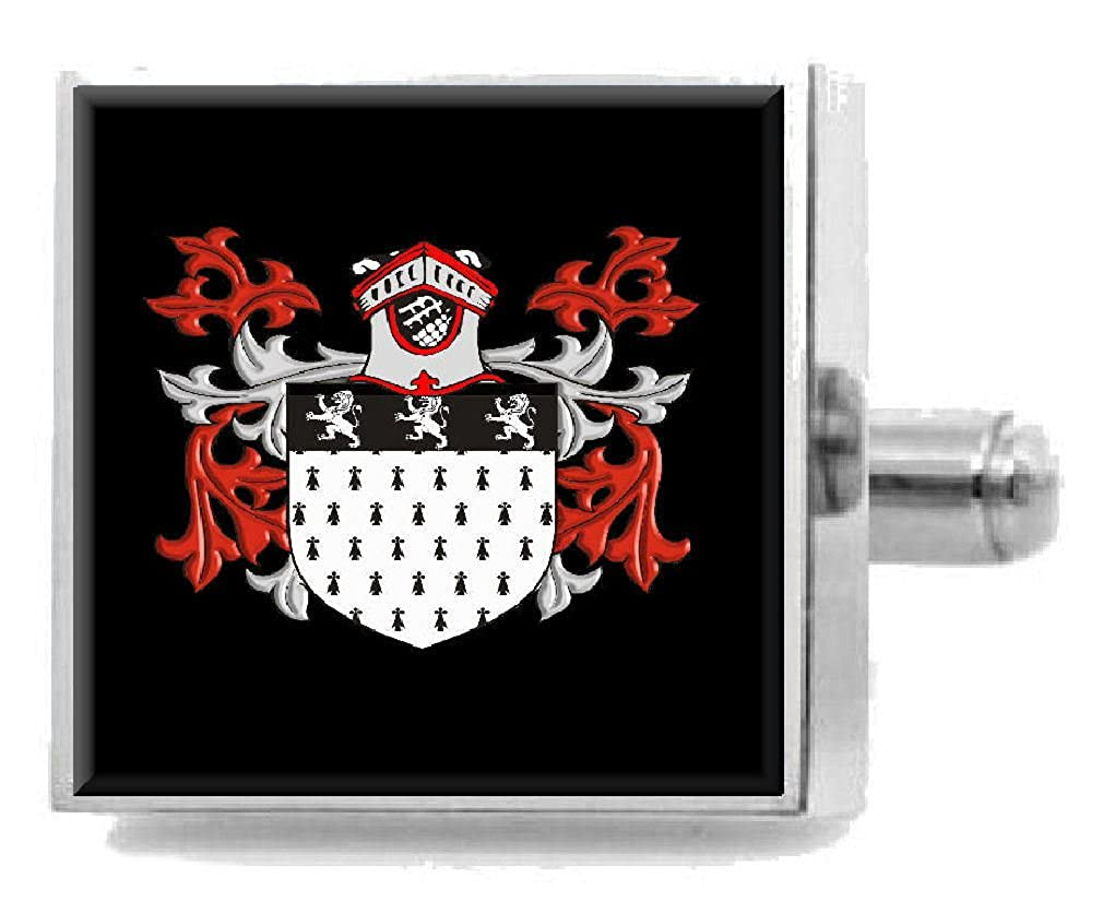 Select Gifts Oliver Wales Heraldry Crest Sterling Silver Cufflinks Engraved Message Box