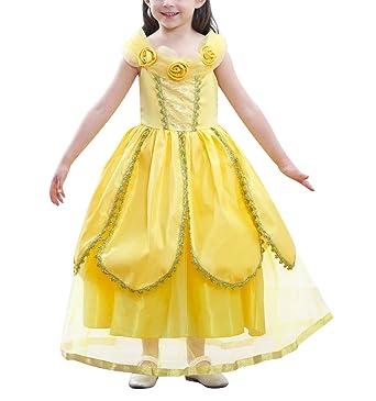 feee1a73d2523 Beunique Robe de Princesse Belle Déguisement de La Belle et La Bête Cosplay  Conte de Fée pour Enfant Tenue Magnifique  Amazon.fr  Vêtements et  accessoires