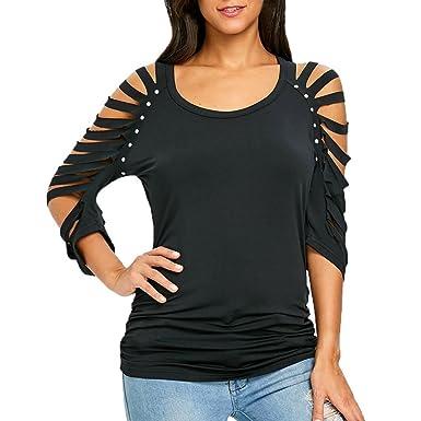 Hffan Damen Modisch langarmshirt Einfarbig T-shirt Bluse Reizvolle  Schulterfrei Hollow Out Friesen O- b6879a60bd