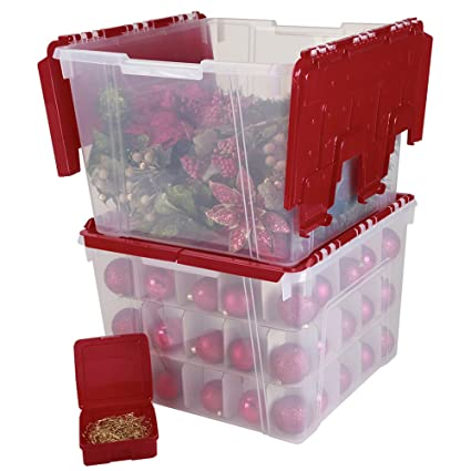 Bon IRIS Holiday Wing Lid Organizer Set With 75 Ornament Dividers