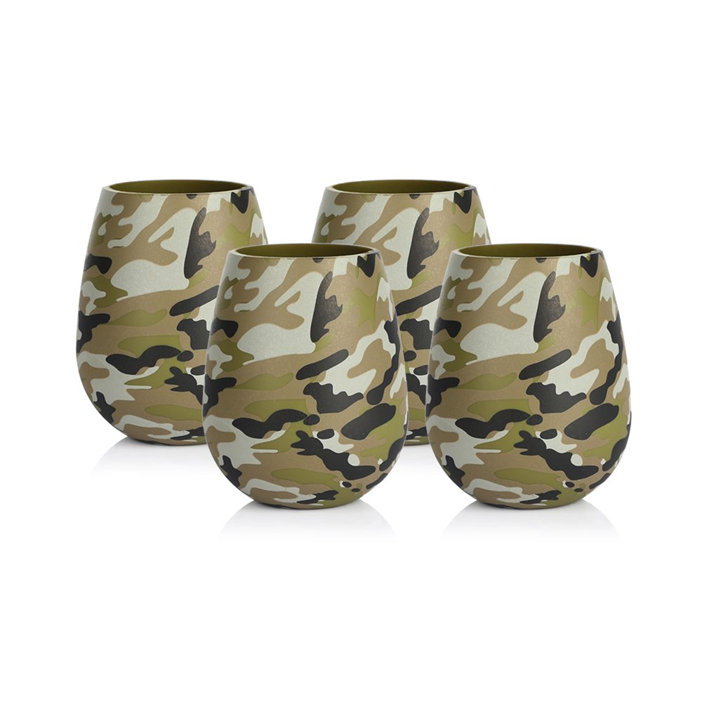 YHOUSE 4 Pcs BPA Free Silicone Wine Glasses Dishwasher Safe Unbreakable Beer Cup for Camping Travel Picnic Party Pool Beach, Food Grade (Army Green Camo)