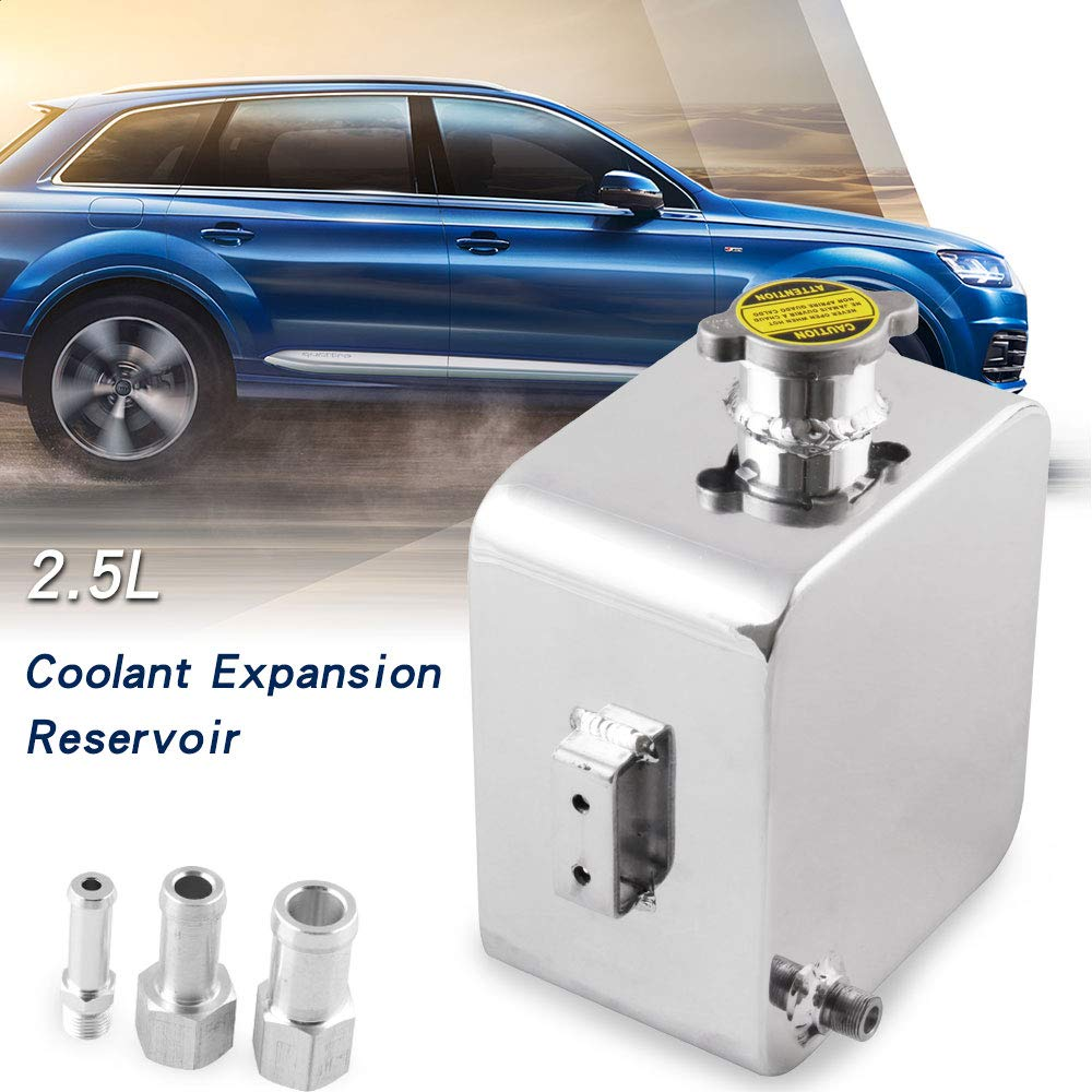 RYANSTAR Universal 2.5L Coolant Expansion Overflow Water Tank Reservoir Complete kit Silver