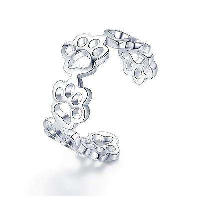 Anillo de plata de ley 925 con huellas de gato y perro, ajustable, para mujer, fiesta, joyería de plata: Amazon.es: Joyería