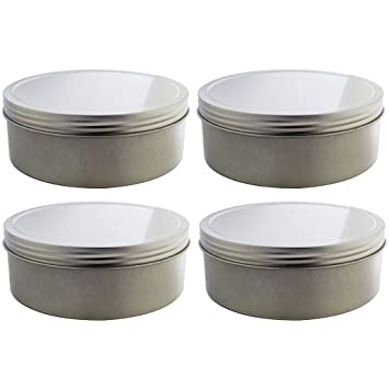 Amazoncom 16 oz Silver Shallow Low Profile Metal Tin Containers