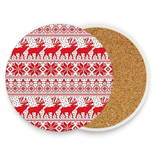 LoveBea Christmas Fawn Coasters, Protection for Granite, Glass, Soapstone, Sandstone, Marble, Stone Table - Perfect Wood Coasters,Round Cup Mat Pad for Home, Kitchen Or Bar 1 Piece
