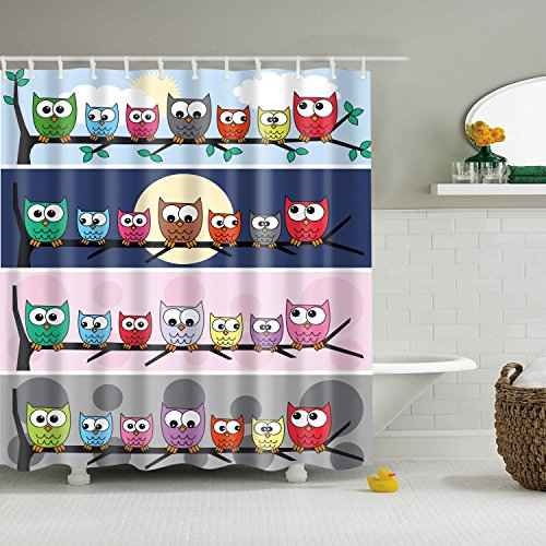 Funny Owls Animal Shower Curtain,BIOSTON Mildew Resistant Waterproof Digital Printing Polyester Fabric Shower Curtains with Adjustable Hook,70.86 Inch,Bath Decorations