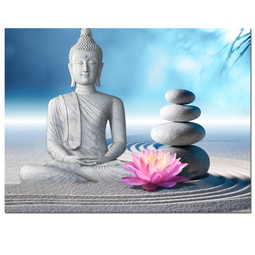 "Visual Art Decor Buddha Canvas Wall Art Framed and Stretched Large Peaceful Buddha Act with Compassion White Sand Zen Stone Canvas Prints Buddhism Decoration for Wall (24""x32"")"