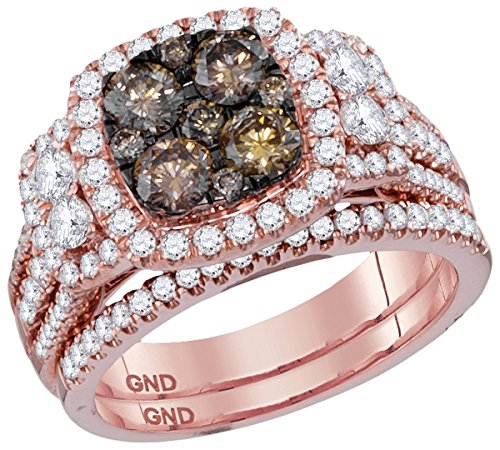 Size - 7 - Solid 14k Rose Gold Round Chocolate Brown And White Diamond Bridal Square Shape Solitaire Halo Engagement Ring with Matching Wedding Band (2.01 cttw) Chocolate Diamond Wedding Bands
