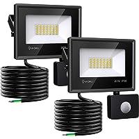 Onforu 20w Foco LED con Sensor de Movimiento (2 Pack), 1800LM Super Potente Iluminación de Seguridad, Impermeable IP66 Proyector Foco LED con Detector, 5000K Blanco Frío Exteriores Jardín Garaje Patio