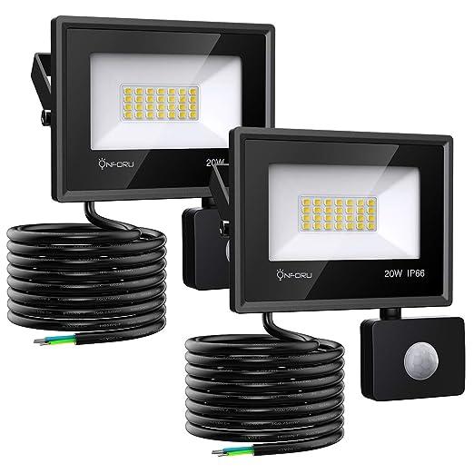 Onforu 20w Foco LED con Sensor de Movimiento (2 Pack), 1800LM Super Potente Iluminación de Seguridad, Impermeable IP66 Proyector Foco LED con ...
