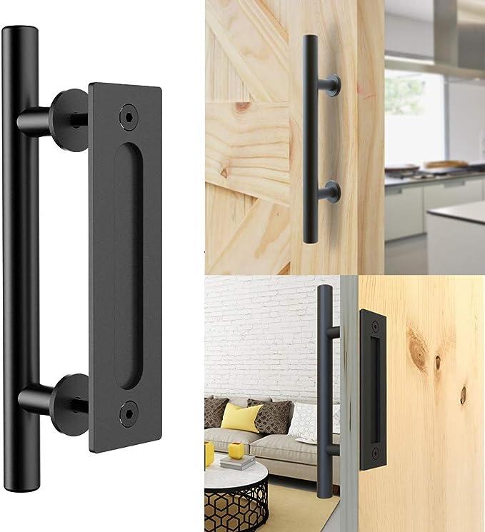 CCJH Tirador y tirador de puerta engastado en negro para puertas de corredera de madera corredizas: Amazon.es: Bricolaje y herramientas