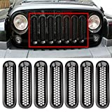 Black Front Grill Mesh Grille Insert Kit For Jeep Wrangler Rubicon Sahara Jk 2007-2017 7PC