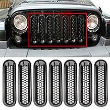 Black Front Grill Mesh Grille Insert Kit For Jeep Wrangler Rubicon Sahara Jk 2007-2015 7PC