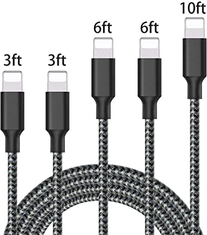 Braided Lightning USB Cable 3//10FT Sync Data Charger For iPhone X 8 7 6S Plus SE