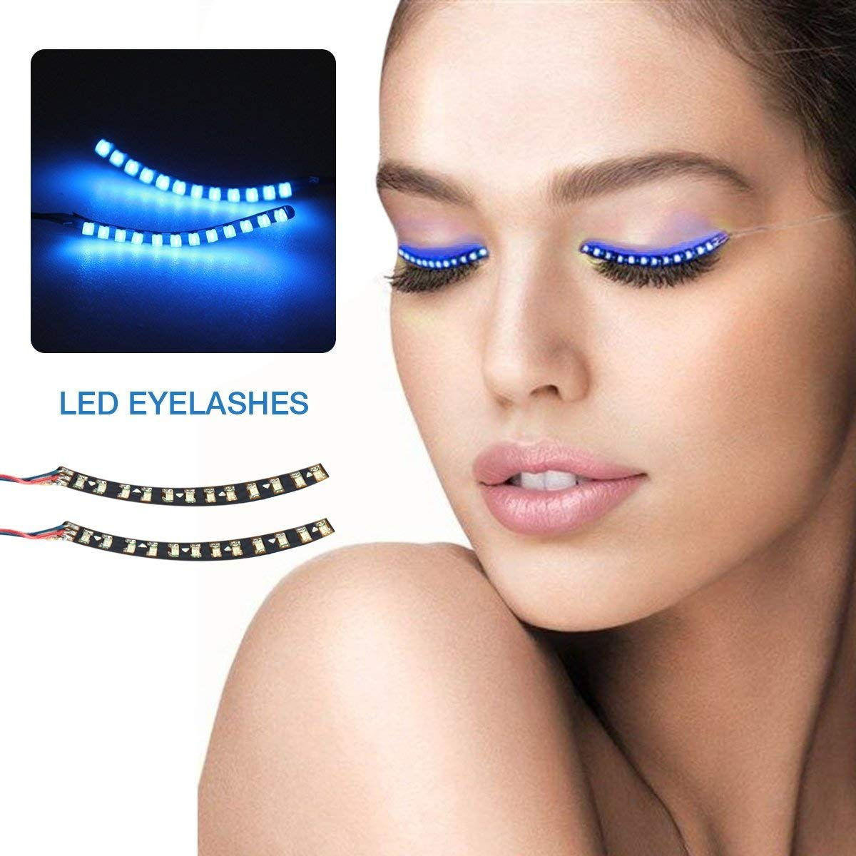 Waterproof LED Eyelashes - ZENUN Unisex Flashes Interactive Changing F. Lashes Luminous Shining Charming Eyelid Tape for Party Bar Nightclub Concerts Birthday Gift Halloween - Blue