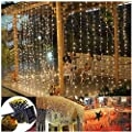DBFairy Solar Curtain Lights Outdoor Waterproof,6.6ft x 6.6ft,8 Mode,200 LED Window Curtain String Lights Fence Wedding Party Home Garden Gazebo Bedroom Wall Decorations,Dark Green Cable