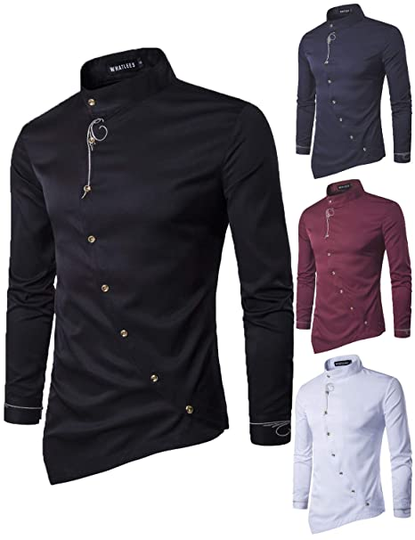 485d4441e Yomis Men's Hipster Irregular Hem Dress Shirts Long Sleeve Slim Fit Silk  Paisley Tops(Black