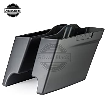 Charcoal Denim 45quot Stretched Saddle Bags Bottoms Extended Plastic Baggers For Harley