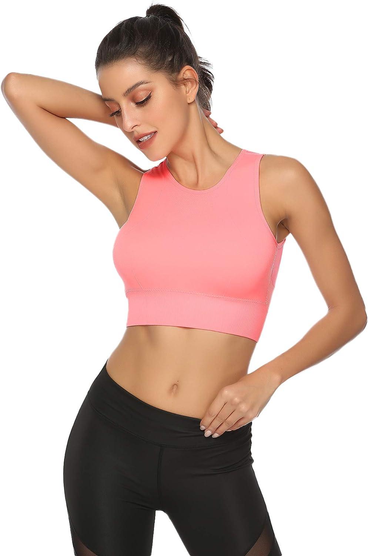 Aibrou Sujetador Deportivo para Mujer de Bajo Impacto con Almohadillas Extra/íbles Sujetador Deportivo con Relleno Gimnasio Yoga Fitness Ejercicio