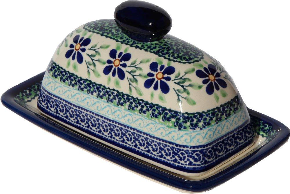 Polish Pottery Butter Dish 4'' X 7'' From Zaklady Ceramiczne Boleslawiec #1377-du121 Unikat Pattern, Dimensions: 7.5 Inch X 4.4 Inch