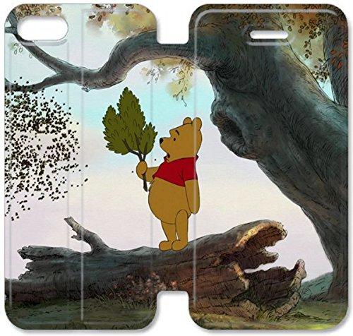 Flip étui en cuir PU Stand pour Coque iPhone 5 5S, bricolage 5 5S Coque Case étui de téléphone cellulaire en cuir Winnie The Pooh Bear Feuille Arbre Vent I2V4IJ Coque iPhone 3D personnalisée