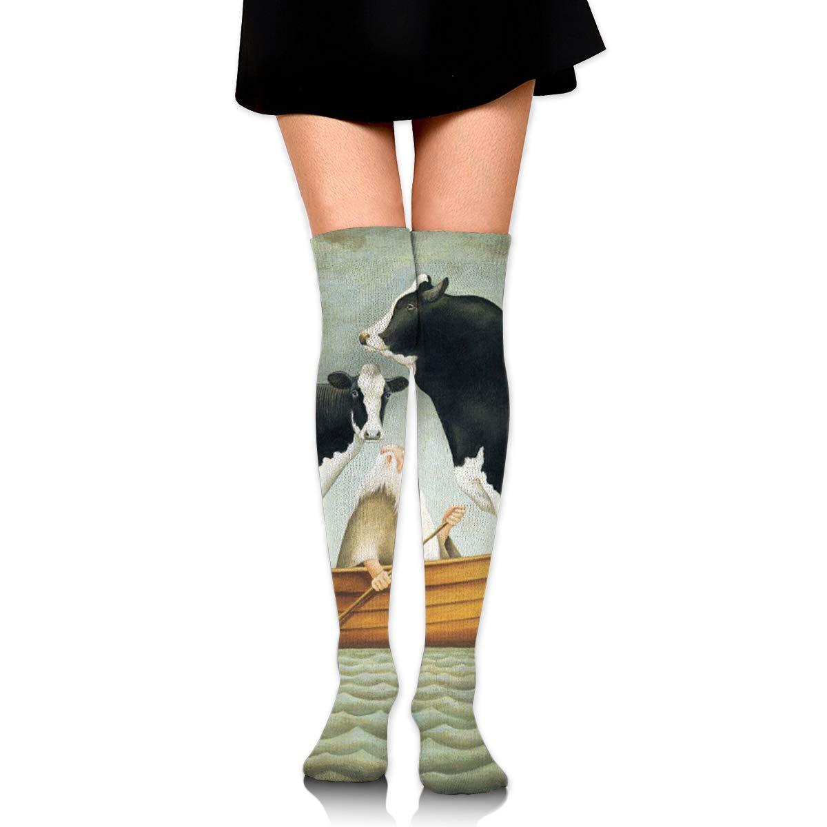 High Elasticity Girl Cotton Knee High Socks Uniform Boat Cow Cattle Women Tube Socks