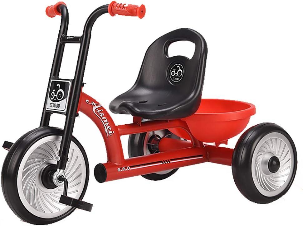 SSLC Triciclo Pedales Coche Niño Bicicleta Asiento Ajustable de Ruedas Gomas Conducción Silenciosa para Niños de 6 Meses a 5 Años Máx 30 kg