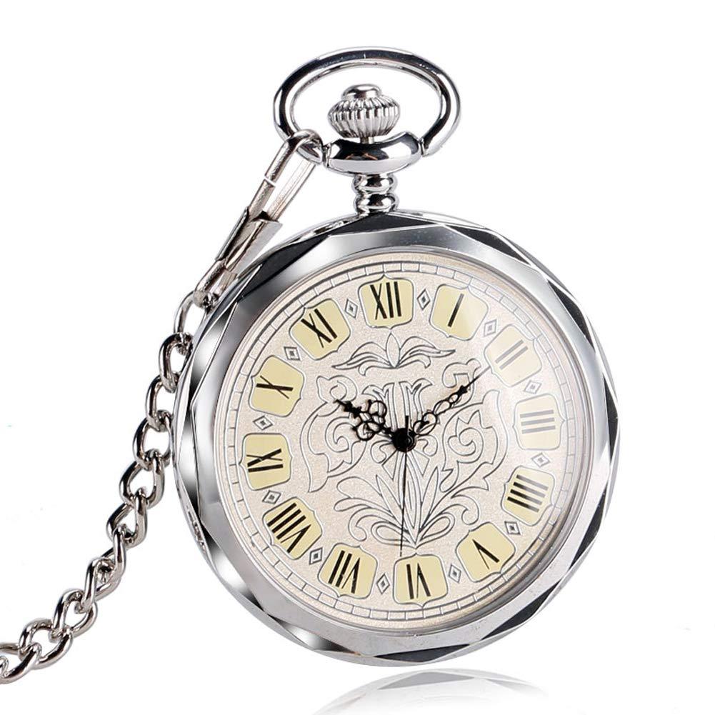 Luxury Pocket Watch, Irregular Silver Open Face Pocket Watch for Men Women, Mechancial Hand Wind Pocket Watch Gift by mygardens (Image #4)