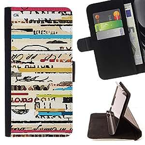 - text ticket travel concert cool lines - - Prima caja de la PU billetera de cuero con ranuras para tarjetas, efectivo desmontable correa para l Funny HouseFOR HTC Desire 820