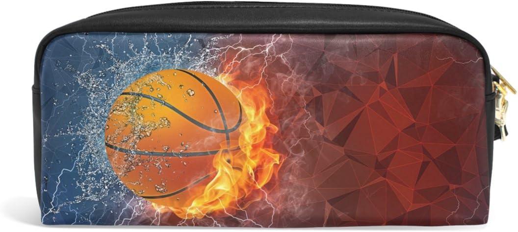 zzkko fuego agua balón de baloncesto Funda de piel cremallera ...