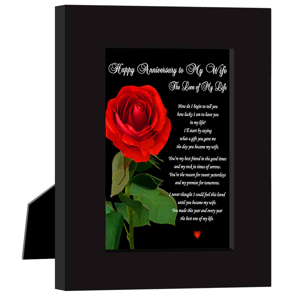 Happy Anniversary To My Wife ''The Love of My Life'' Love Poem Card in Black Frame