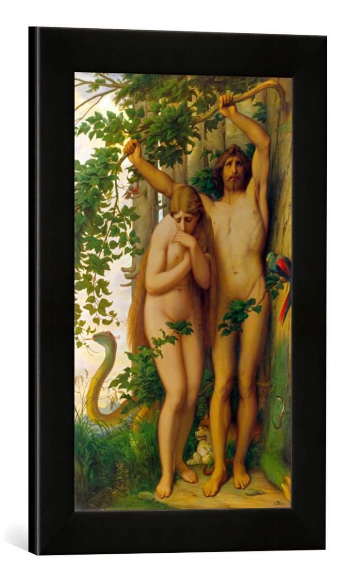 Gerahmtes Bild von Edward Jakob von Steinle Adam und Eva, Kunstdruck im hochwertigen handgefertigten Bilder-Rahmen, 30x40 cm, Schwarz matt